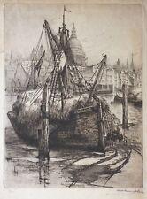 Gravure eau-forte Londres Tamise bateau fin du 19e siècle signé numéroté London