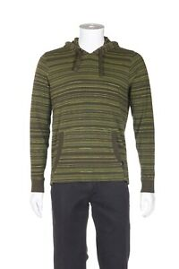 PRANA Breath Hooded Sweater Small Green Stripe Jersey Pullover Top Men's Shirt