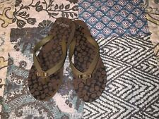 Coach Thong Brown Signature C Thong Sandals Bow Size 5-6