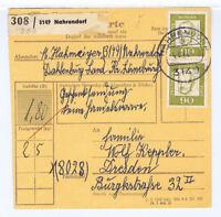 BUND, Mi. 360y, MeF, Paketkarte, Nahrendorf, 4.3.68
