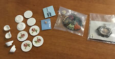 Handmade Lot Dollhouse Miniatures Dishes, Relish Tray, Picture, Hair Curler