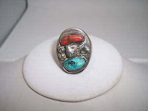 Old Pawn Heavy Cast Sterling Silver Turquoise & Coral Men's Ring Southwestern