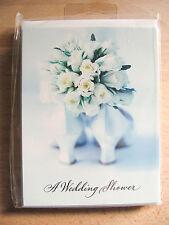 "NEW Hallmark White Roses ""A Wedding Shower"" 8 Invitations & Envelopes"