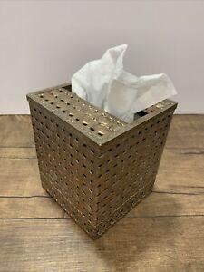 1970s Brass Hollywood Regency Tissue Box Cover Square Box Basket Weave VTG