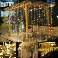 300 LED/200LED Solar Power Curtain Lights Fairy String Outdoor Xmas Party Deco