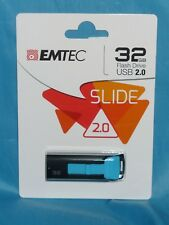 Emtic - Slide 32GB USB 2.0 Flash Drive - Blue - New In The Sealed Package