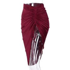 Lady Sexy Skirt Asymmetrical Stretch Ruched Side Split Gypsy Midi Bodycon A-Line