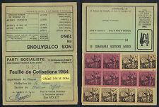 PARTI SOCIALISTE - SFIO - MAISONS ALFORT /1964 FEUILLE DE COTISATION (ref 6224s)