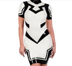 100% Rubber Latex Weiß Schwarz Damen Sexy Cosplay Kleid Dress S-XXL 0.4mm