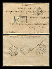 """Malaya 1939 unpaid cvr India to Kedah, applied """"T"""" & boxed """"TO PAY 15 CENTS"""" h/s"""