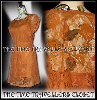 RIVER ISLAND CHELSEA GIRL BURNT ORANGE LACE VINTAGE 60s MINI DRESS & SLIP UK 6
