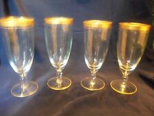 Fabulous Lot of 4 Tall 10 Ounce Vintage FANCY Gold Trimmed BEER GLASSES / GOBLET