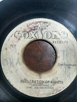 """The Abyssinians-Declaration Of Rights 7"""" Vinyl Single ROOTS REGGAE"""