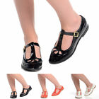 Womens T-Bar Mary Jane Ladies Cut Out Geek Girls Flat School Work Shoes