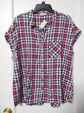 NWT MAURICES NAVY & RED PLAID Button-front Blouse Size Large - MSRP $26