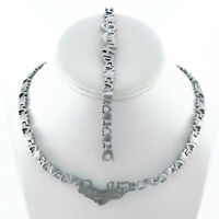 "WOMENS SILVER I LOVE YOU HUGS AND KISSES NECKLACE & BRACELET SET XOXO 18"" NEW"