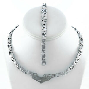 """WOMENS SILVER I LOVE YOU HUGS AND KISSES NECKLACE & BRACELET SET XOXO 18"""" NEW"""