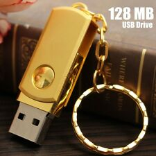 128MB MO USB 2.0 Cle Metal Golden Mémoire Flash Stick Drive Porte-cle PC Cadeau
