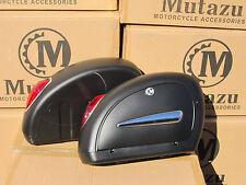 Mutazu Matte Black LN Universal Motorcycle Hard Bags Saddlebags & Free Mount Kit