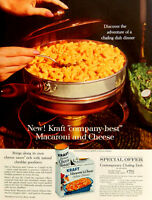 Vtg 1962 Kraft Macaroni and Cheese retro Chafing dish advertisement print ad