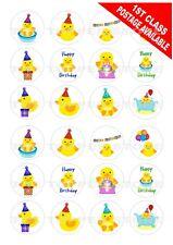 24 PRE-CUT Yellow Duck Ducks Birthday Edible Wafer Rice Cupcake Topper Cake