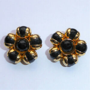 Vintage Clip On Earrings Bright Gold Flower Shape with Black Glass Beads