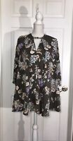 NEW Umgee Mini Tunic Dress Bell Sleeves Floral Size Small Bohemian Boho