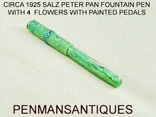CIRCA 1925 PETER PAN FOUNTAIN PEN IN JADE WITH 4 FLOWERS AND PAINTED PEDALS