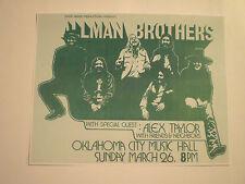 Allman Brothers Band Concert Handbill Flyer Print 1970's Oklahoma City