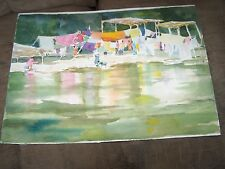 """Original Watercolor By Peg Humphreys, Laundry Day 16.5""""x22"""""""