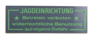 """Schilder """"JAGDEINRICHTUNG"""" - 10/20/30 Stück - grau - jagdliche Einrichtung - NEU"""