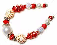 "Christmas Beads Lampwork Glass, metal alloy, acrylic ""Christmas Candy"" c2213"