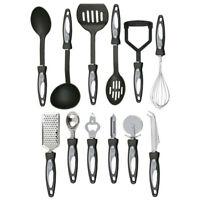 12 Piece Cooking Utensil Set Stainless Steel Kitchen Gadget Tool Nylon Handle UK