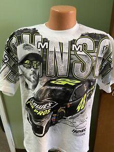 "Jimmie Johnson Nascar #48 White Total Print Shirt ""LOWE'S FOR PROS"" Men's X-larg"