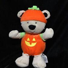 "Just One You Halloween Tan Pumpkin Bear Plush Soft Toy Rattle Stuffed 9"" Orange"