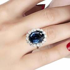 Royal Blue 15.17CT Oval Cut Sapphire With 3.89CT Heart & Round Cut CZ Halo Ring