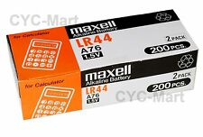 New 0% Hg Maxell  LR44  AG13  A76 Batteries 200 pcs FREE Post with tracking