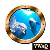 Dolphins Underwater Scene 3D Porthole Family Wall Art Ocean View 3D VWAQ BP8