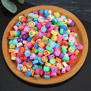 10mm Mix Clay Round Beads Letter Spacers Alphabet Bracelet DIY Making 100-pack