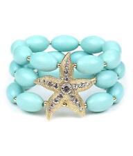 3 Strand Lt Mint Lucite Bead Gold Tone StarFish Stretch Bracelet