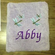 EMBROIDERED BATH  TOWEL  - ' DRAGON FLIES'
