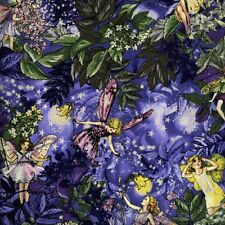 Fat Quarter NOCHE DE hadas las flores púrpura 100% algodón acolchada Tela dm5043