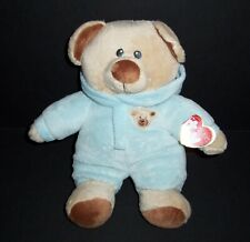 NEW Ty Baby Bear Blue 2016 Plush Hood Stuffed Animal Lovey Toy