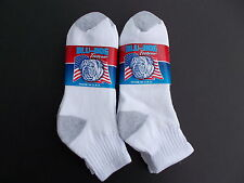 Blu-Dog Made In USA Men's Ankle Socks 6 Pairs Shoe Size 7-12 White/Gray
