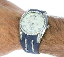 Ice Star Designer Style Wrist Watch - Hard Silicone Blue Band & White Dial