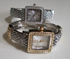 Women's number dial rhinestone assorted finish bangle fashion dressy watch