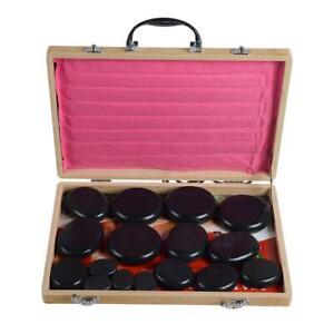 20pcs Hot Massage Stone Volcanic Kit Rock SPA Oiled Massager Bamboo Box