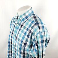 Thomas Dean Mens Button Front Shirt XL L/S Blue White Plaid Check Cotton A03-18