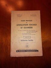 """Livret Politique  """"Législation Sociale et Ouvrière"""" Institutions Sociales"""