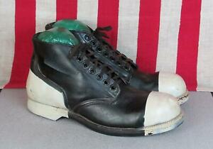 Vintage 1960s Military Black Leather Ankle Boots White Painted Toe-Cap Heel 10.5